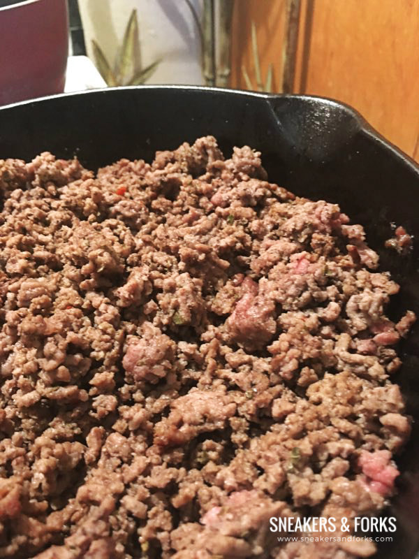 Easy-low-carb-pizza-sneakers-and-forks-ground-beef-cooking